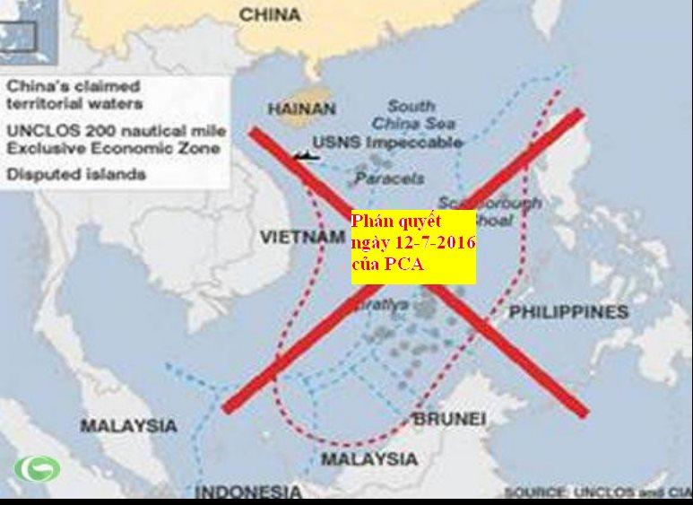 """Ảnh: Vẽ thêm """"Đường lưỡi bò"""" vào bản đồ không giúp ích gì cho Trung Quốc bởi nó đã bị Tòa trọng tài quốc tế PCA bác bỏ."""