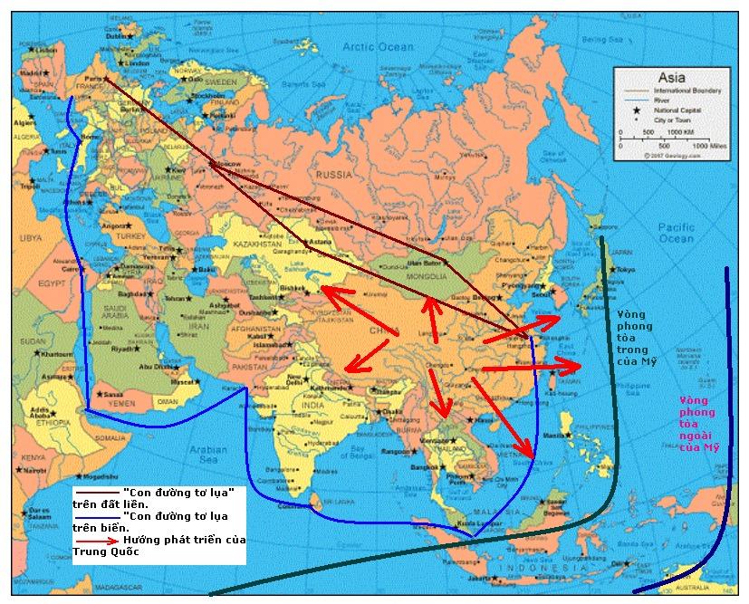 """Sự phong tỏa của Mỹ và phương Tây đối với Trung Quốc - Những hướng phát triển của Trung Quốc - Hai cánh của chiến lược """"Vành đai-Con đường"""""""