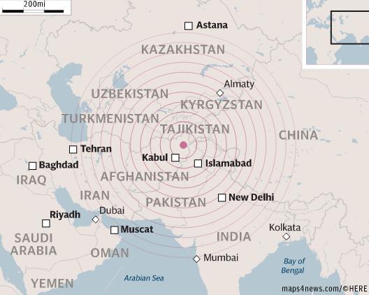 Tâm chấn của động đất ở phía bắc Afghanistan (Đồ họa: Independent)