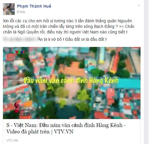 Bất bình khi chương trình VTV sai kiến thức lịch sử