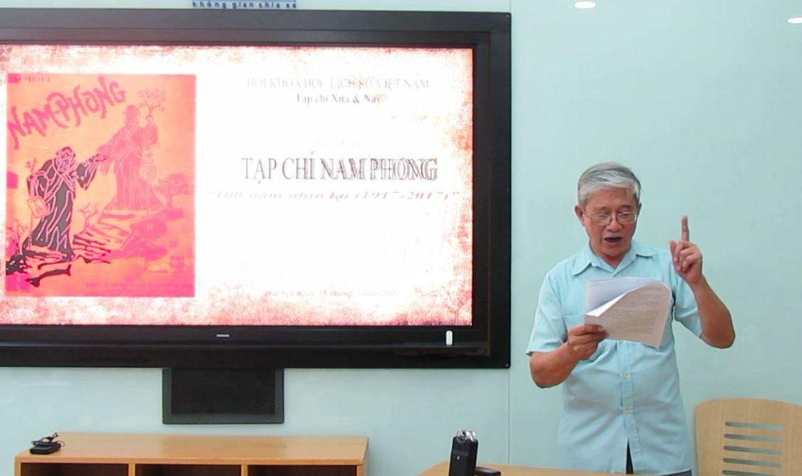 Vũ Thế Khôi Trong buổi tọa đàm do Tạp chí Xưa & Nay tổ chức tại Hà Nội, ngày 15/07/2017 (ảnh: Phạm Duy Trưởng)