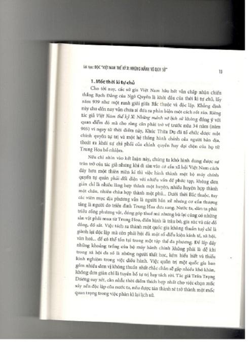 """PHẢN BIỆN SÁCH """"VIỆT NAM THẾ KỶ X – NHỮNG MẢNH VỠ LỊCH SỬ"""" CHỦ ĐỀ 7: XÁC ĐỊNH THỜI ĐIỂM KẾT THÚC NGÀN NĂM BẮC THUỘC – MỘT BÀI VIẾT ĐƯỢC BIÊN TẬP KIỂU WIKIPEDIA?"""